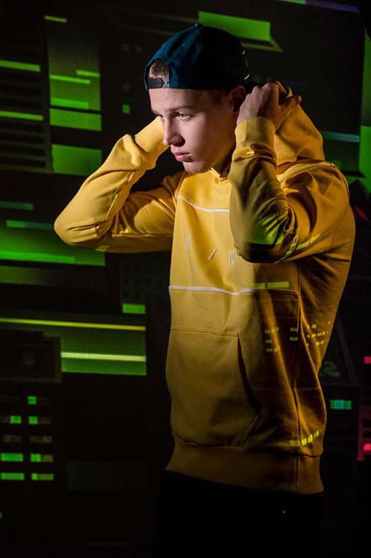 Model wearing citrus AW18 King Apparel Stepney hoodie