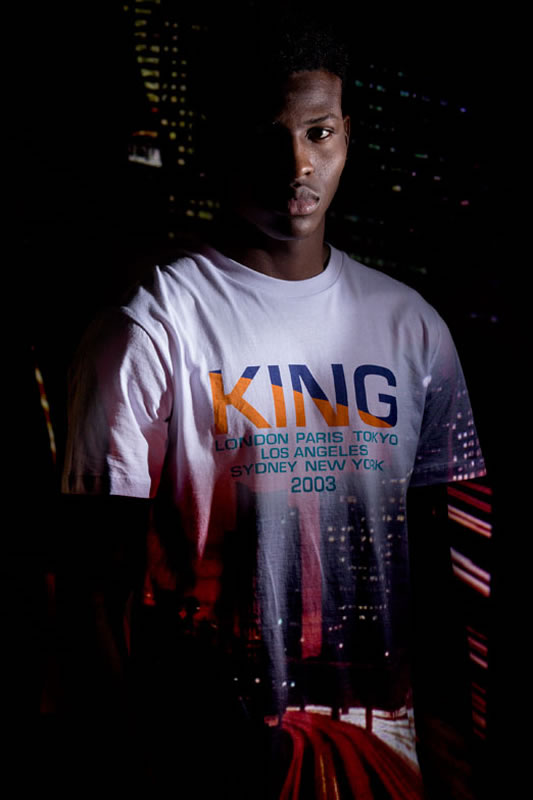 Model wearing white AW18 King Apparel Homerton t-shirt