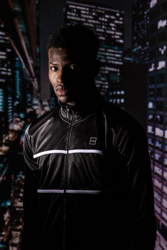 Model wearing black AW18 King Apparel Langdon tracksuit jacket
