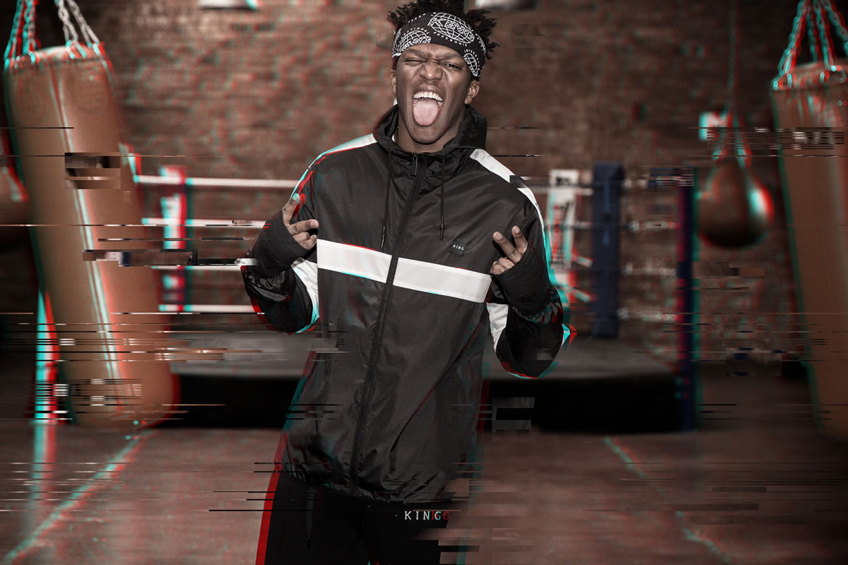 KSI wearing oxblood King Apparel t-shirt