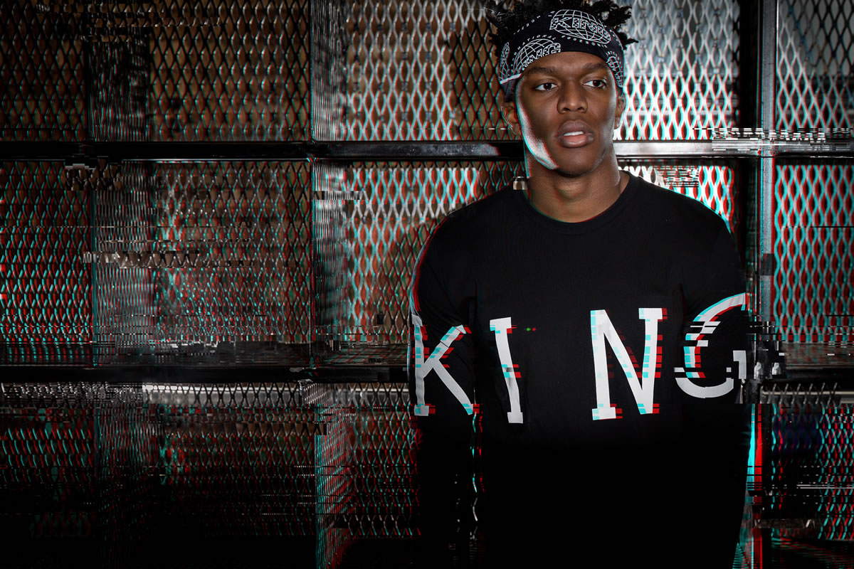 KSI wearing blush King Apparel windrunner