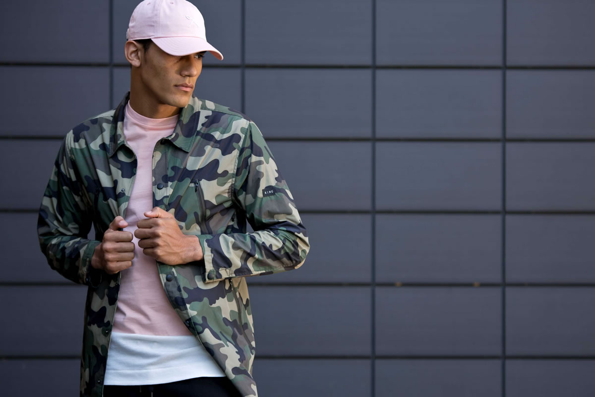 Model wearing camo SS17 King Apparel mac