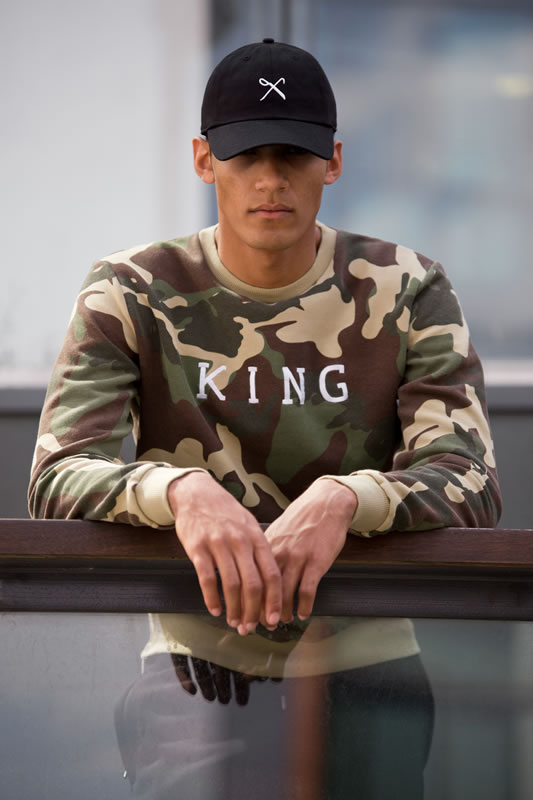 Model wearing camo SS17 King Apparel t-shirt