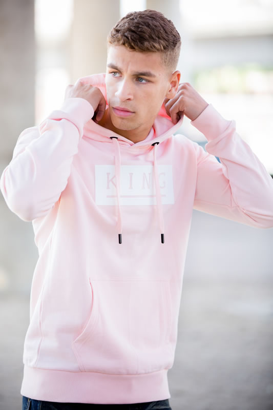 Model wearing pink SS18 King Apparel hoodie