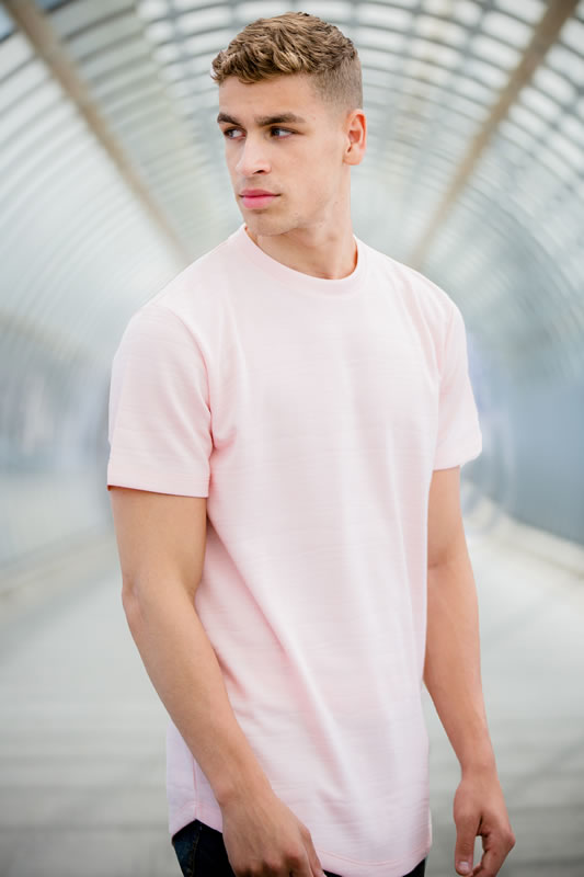 Model wearing pink SS18 King Apparel t-shirt